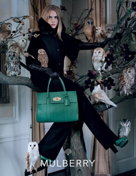 Cara Delevingne posing with owls for Mulberry Fall 2013 Campaign