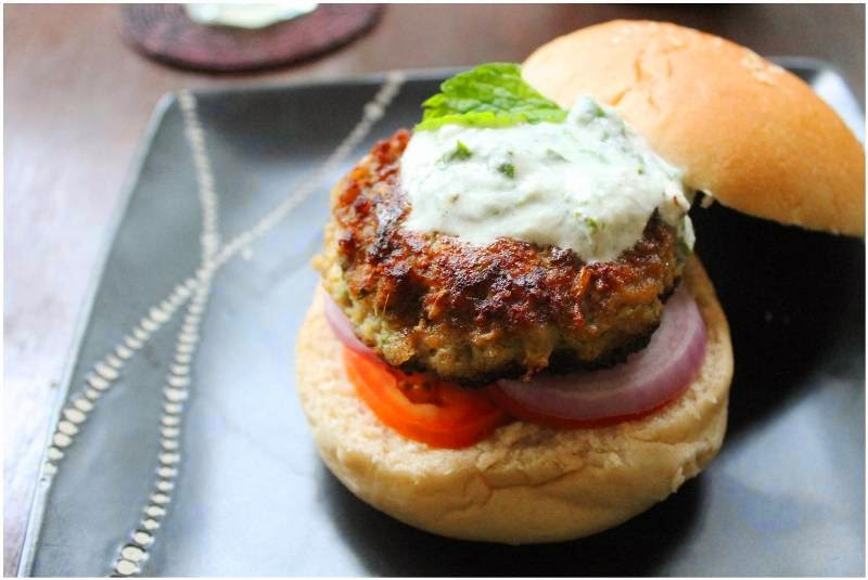 Baker in disguise indian style lamb burgers with herbed yoghurt i came across these burgers in anjum anands indian food made easy she takes a regular lamb burger and spices it up with indian flavours forumfinder Choice Image