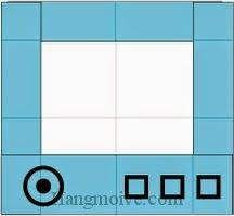 Bước 7: Vẽ nút để hoàn thành cách xếp, gấp chiếc, cái tv, tivi bằng giấy origami đơn giản.