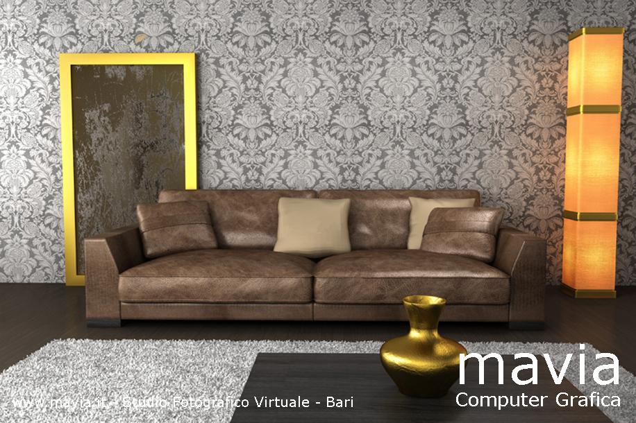 Arredamento di interni: Rendering interni 3d: divano in pelle ...