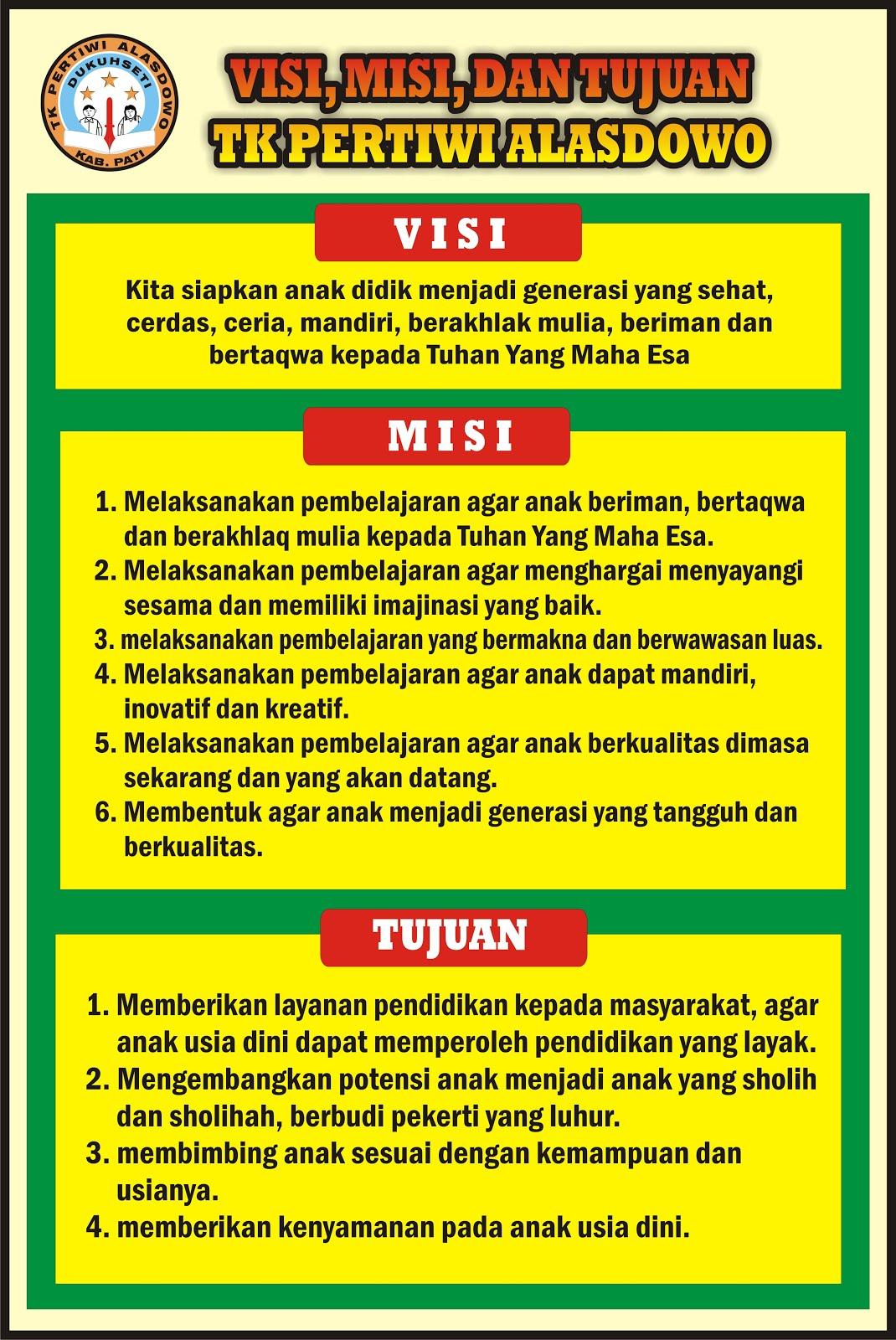 Contoh Visi Misi Untuk Taman Kanak Kanak Tk Paud Design Banner