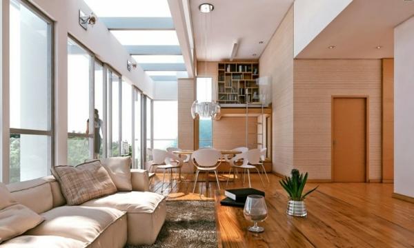 Decoracion Sala Comedor Moderno ~ Una sala comedor con suelo de parquet en tono claro con muebles claros