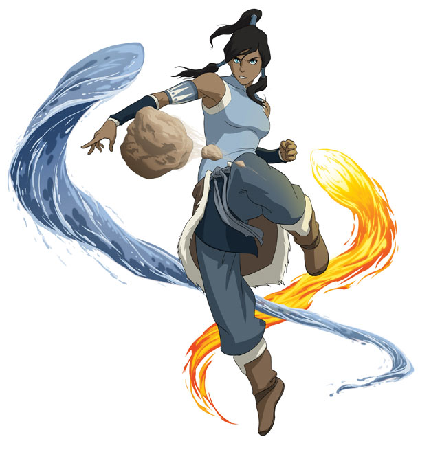Korra Bending Earth, Water, and Fire