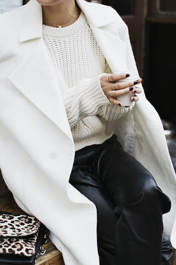 MOOD 48_14   wearing leather trousers with soft whites via Park and Cube