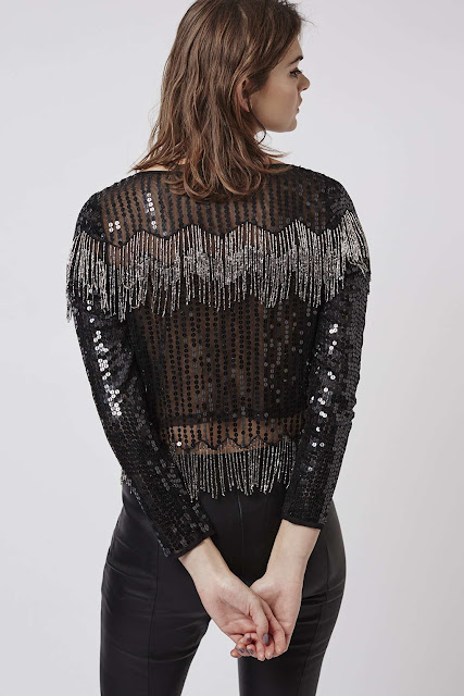 sequin fringe crop top, topshop black sequin top, long sleeved sequin black top,