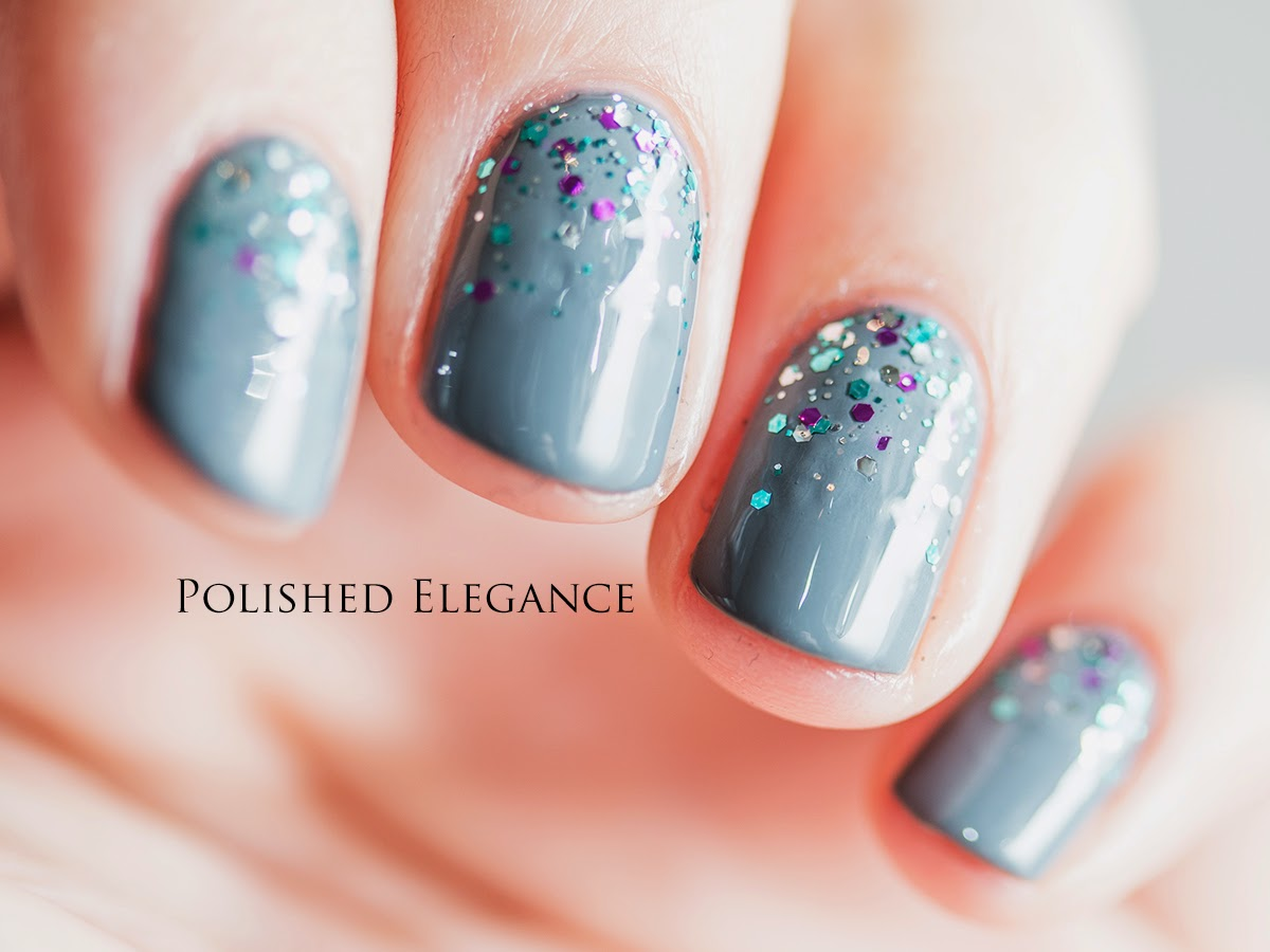 OPI - Embrace The Gray swatch nail art glitter gradient manicure nail art