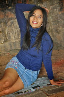 Mithra Kurian in Denim Micro Mini Shirt and Blue Top Lovely Pics