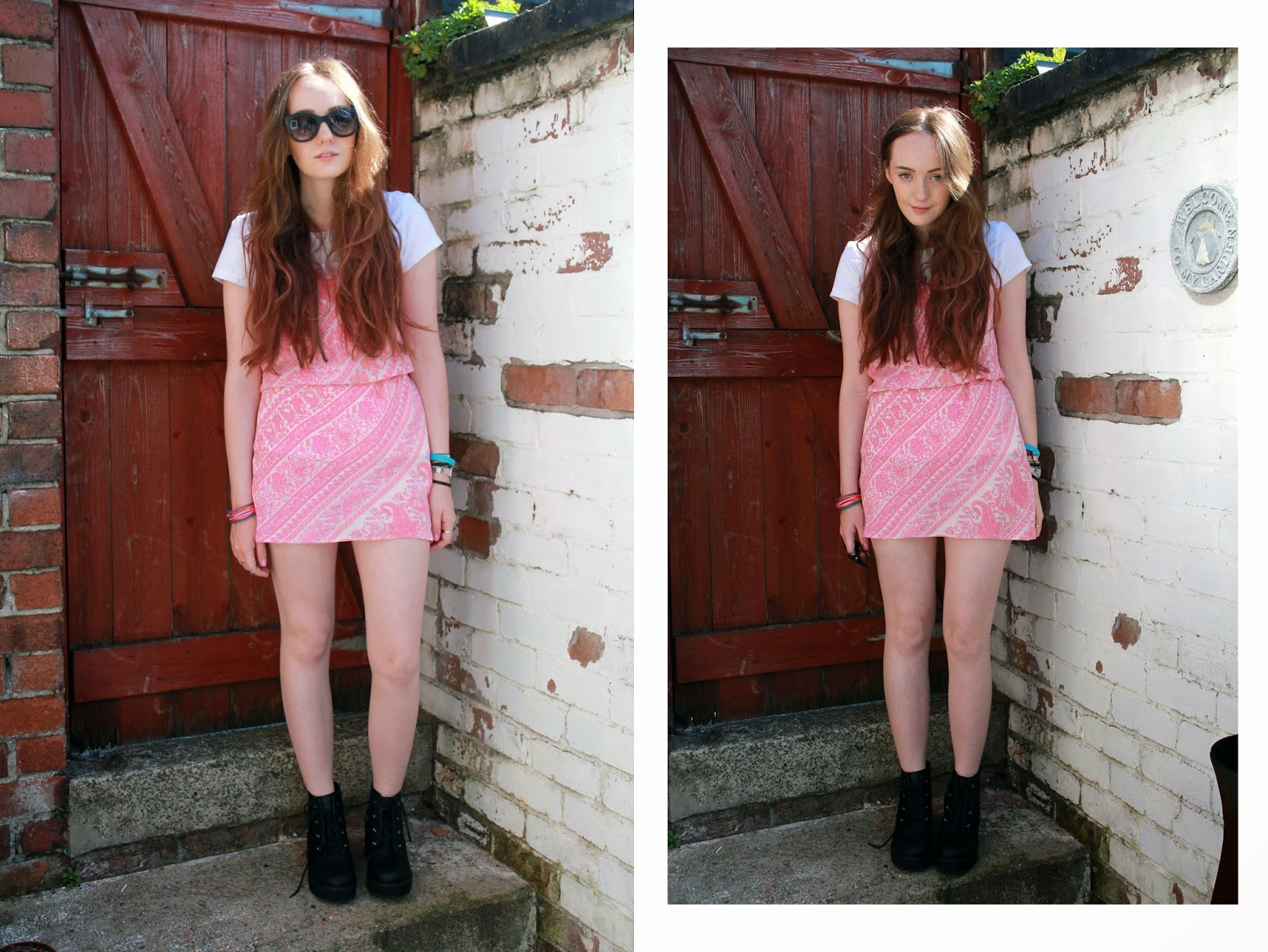 OOTD featuring primark sunglasses, white t-shirt worn under slip dress and asos revolution ankle boots