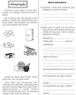 Atividade de Ciências - Alimentação Parte 1 - Atividade para imprimir