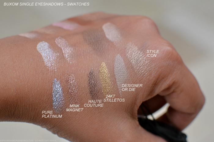 Buxom Eyeshadow Bar Single Eyeshadows Refills Swatches Pure Platinum Mink Magnet Haute Couture 24KT Stilletos Designer or Die Style Icon