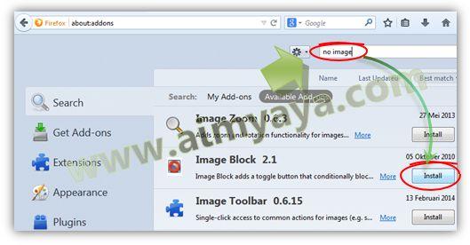 Gambar:  Mencari addons (pengaya) yang memiliki fungsi menyembunyikan gambar