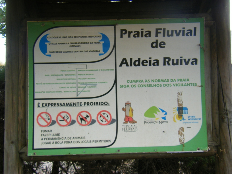 Placa Identificativa da Praia Fluvial de Aldeia Ruiva