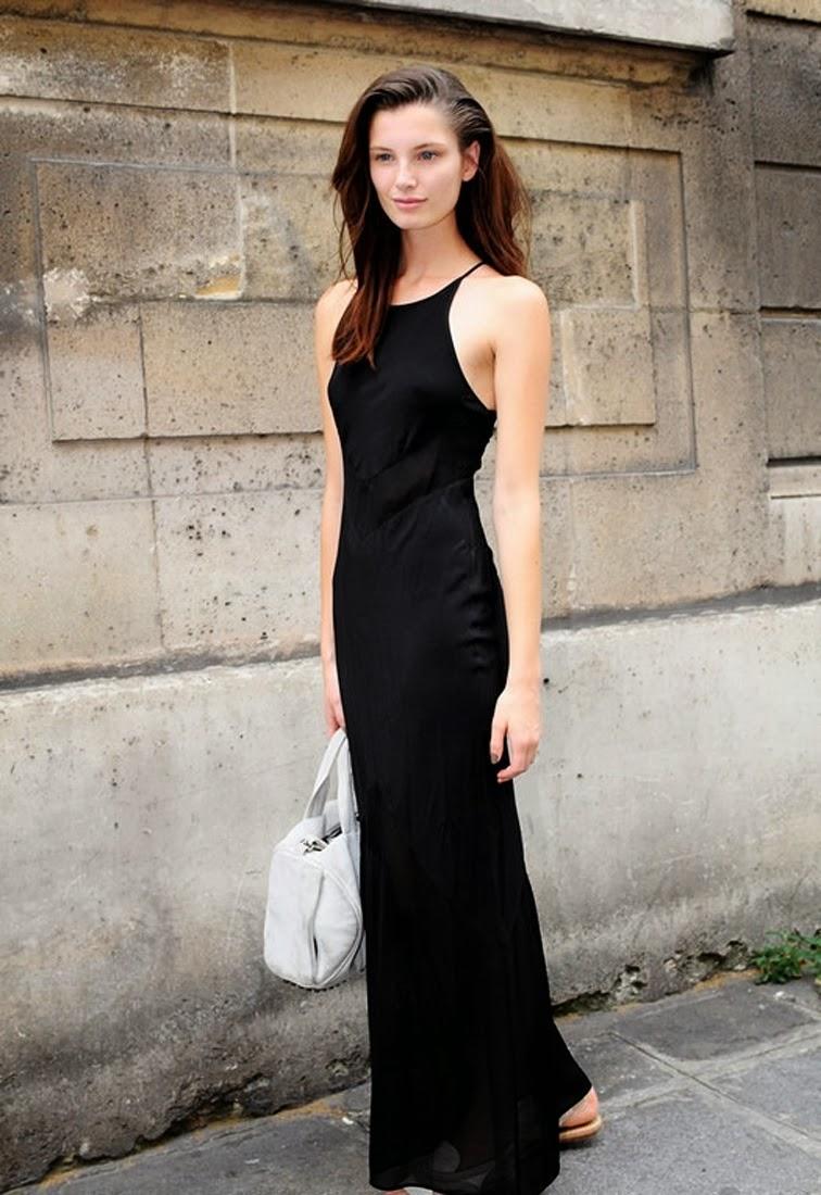 Ava Smith model off duty, black maxi slip dress, street style