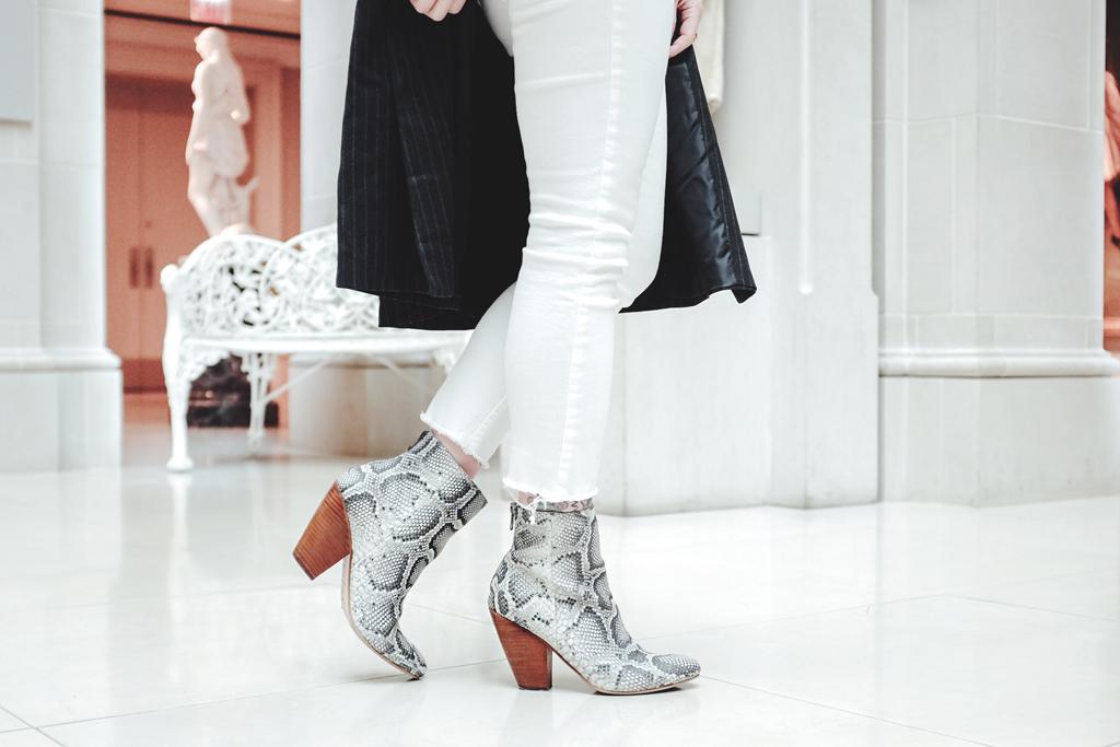 Snakeskin Boots and Pinstripe Longline Blazer - Mini Penny Blog