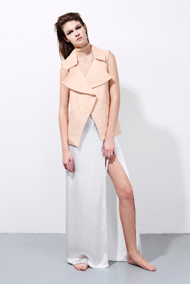 Vest and skirt, light pink and white