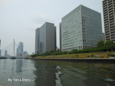 Tall skyscrapers in the Sumida River cruise, Tokyo - Japan