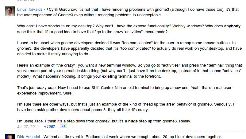 Pernyataan Linus Torvalds tentang GNOME 3