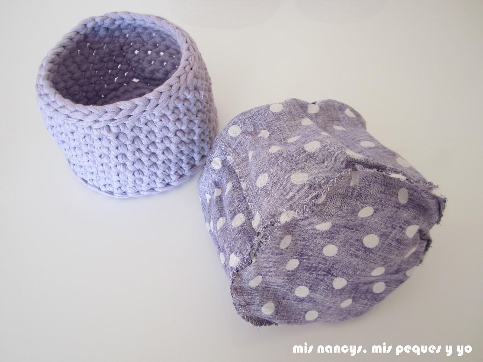 mis nancys, mis peques y yo, cestas redondas de trapillo con fundas de tela, interior funda de tela