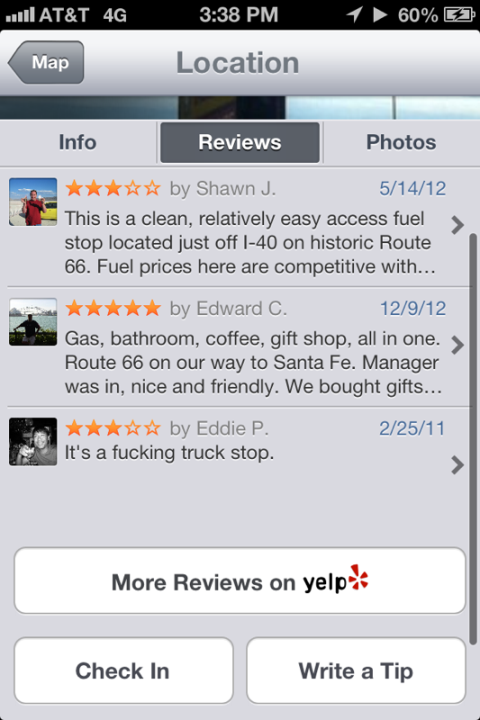 yelp truckstop review