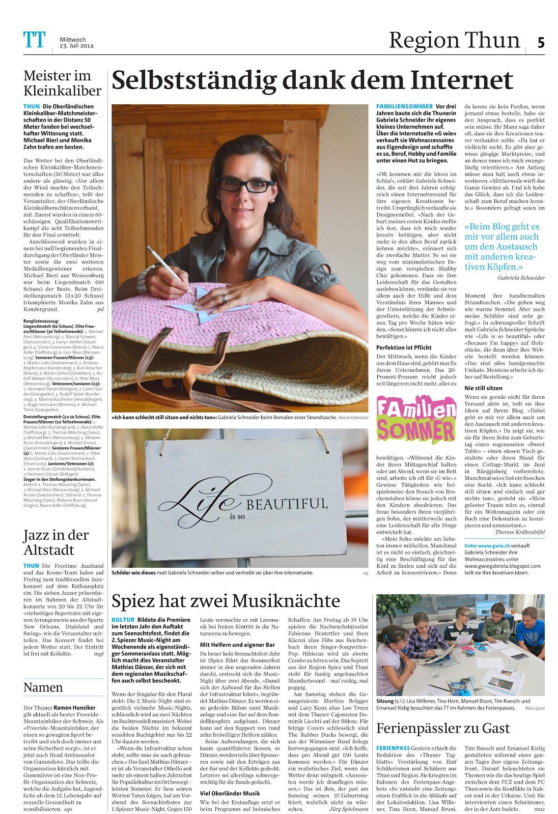 Publikation im Thuner Tagblatt