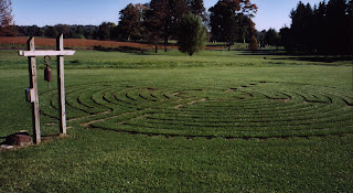 Outdoor grass, path that participants of the Labyrinth walk