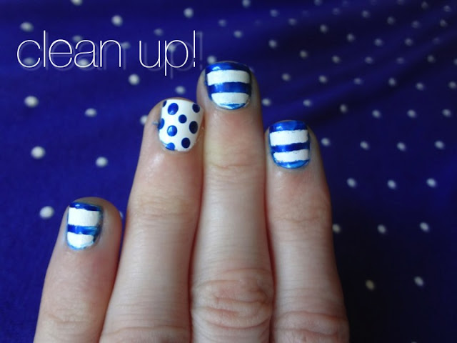 stripes and polka dot nails