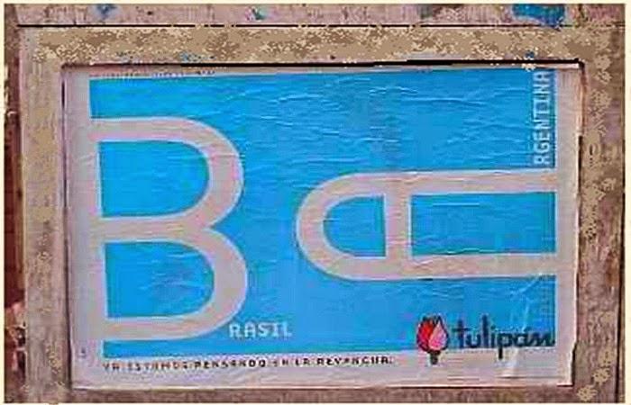 Obraz: okoliczościowy plakat producenta prezerwatyw Tulipan z Argentyny przed meczem Argentyna - Brazylia