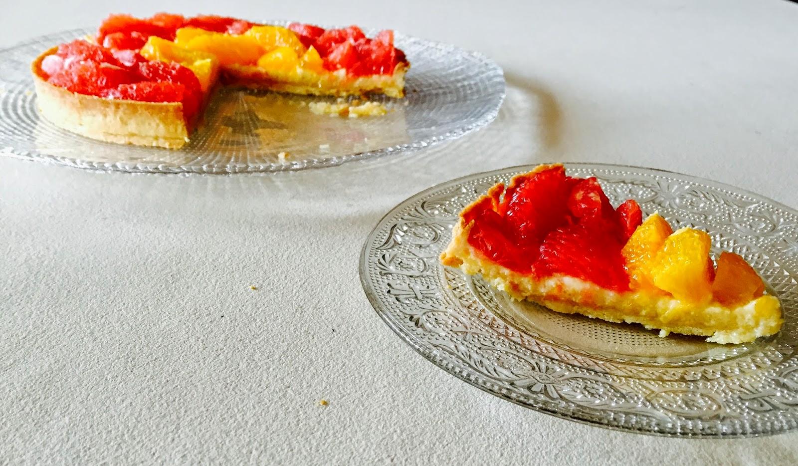 La tarte aux suprêmes de pamplemousse et orange - d'après Hugo & Victor
