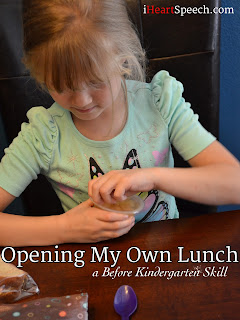 a kindergarten child opening her lunch