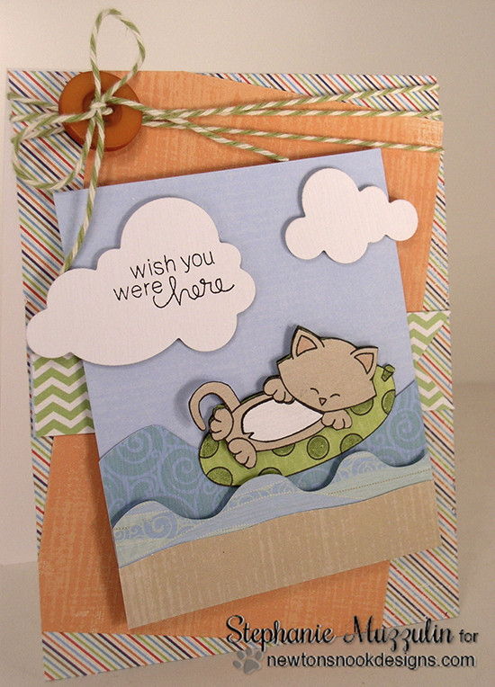 Fun kitty beach card by Stephanie Muzzulin using Newton's Summer Vacation Cat Stamp set by Newton's Nook Designs