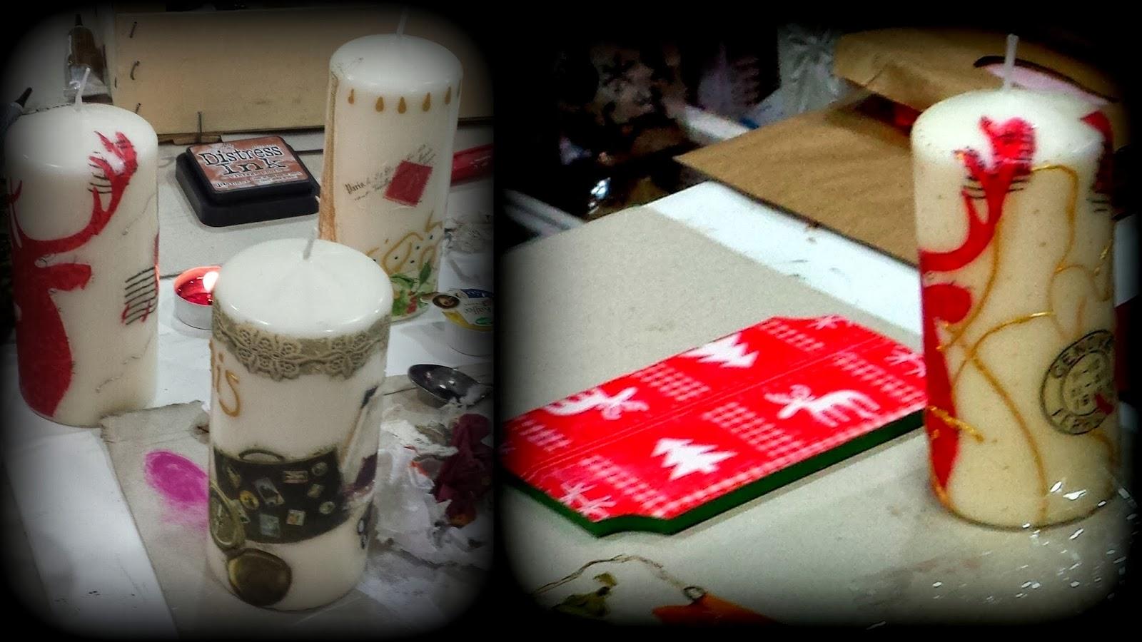 Las casitas de papel fotos velas en decoupage y adornos - Velas de adorno ...
