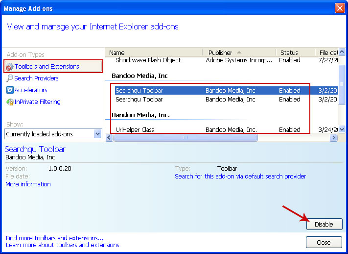 how to delete toolbars and extensions