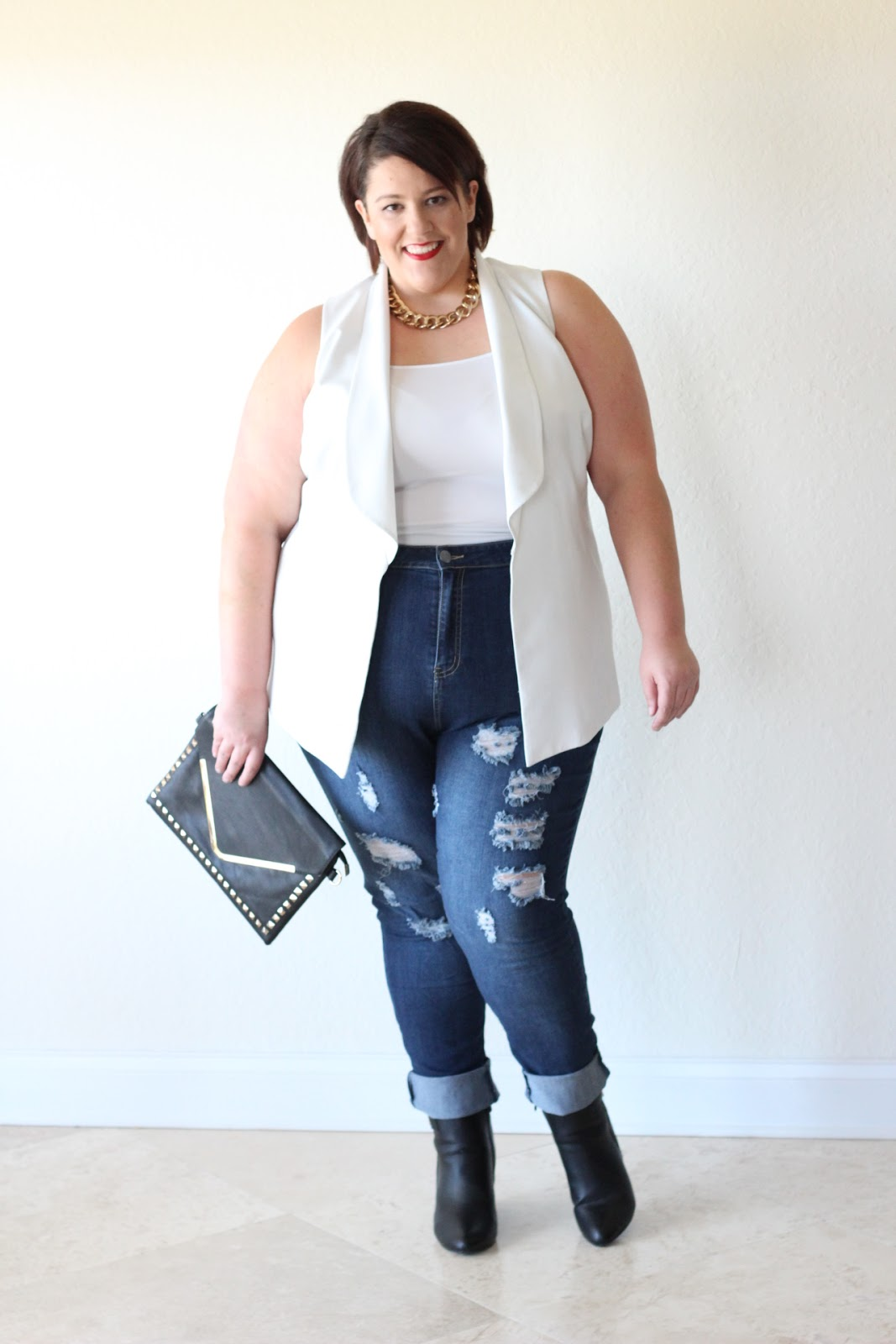 jessica kane how to style distressed ripped plus size denim jean