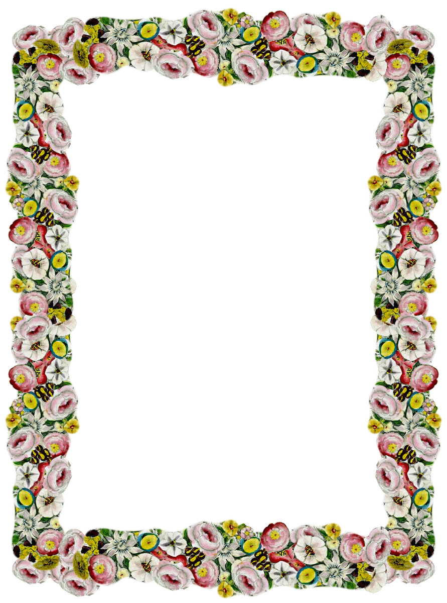 Free digital vintage flower frame and border png ...