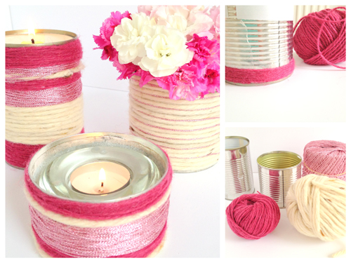 yarn+wrapped+tins1 DIY Yarn Wrapped Tins for Votives and Vases | Lovely Pastels In My Home