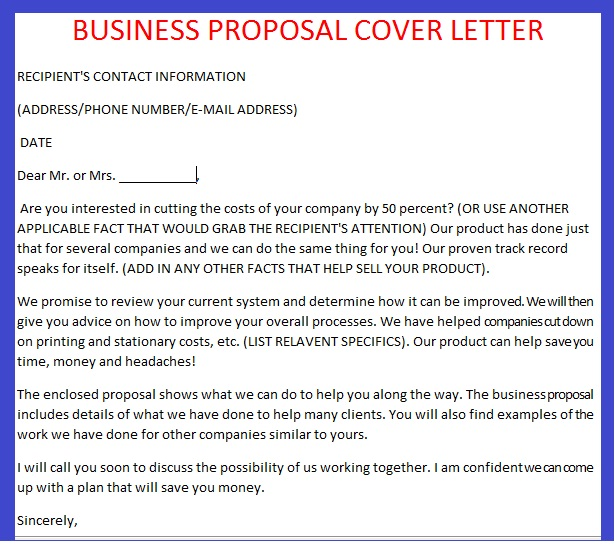 Sample of cover letter for business proposal