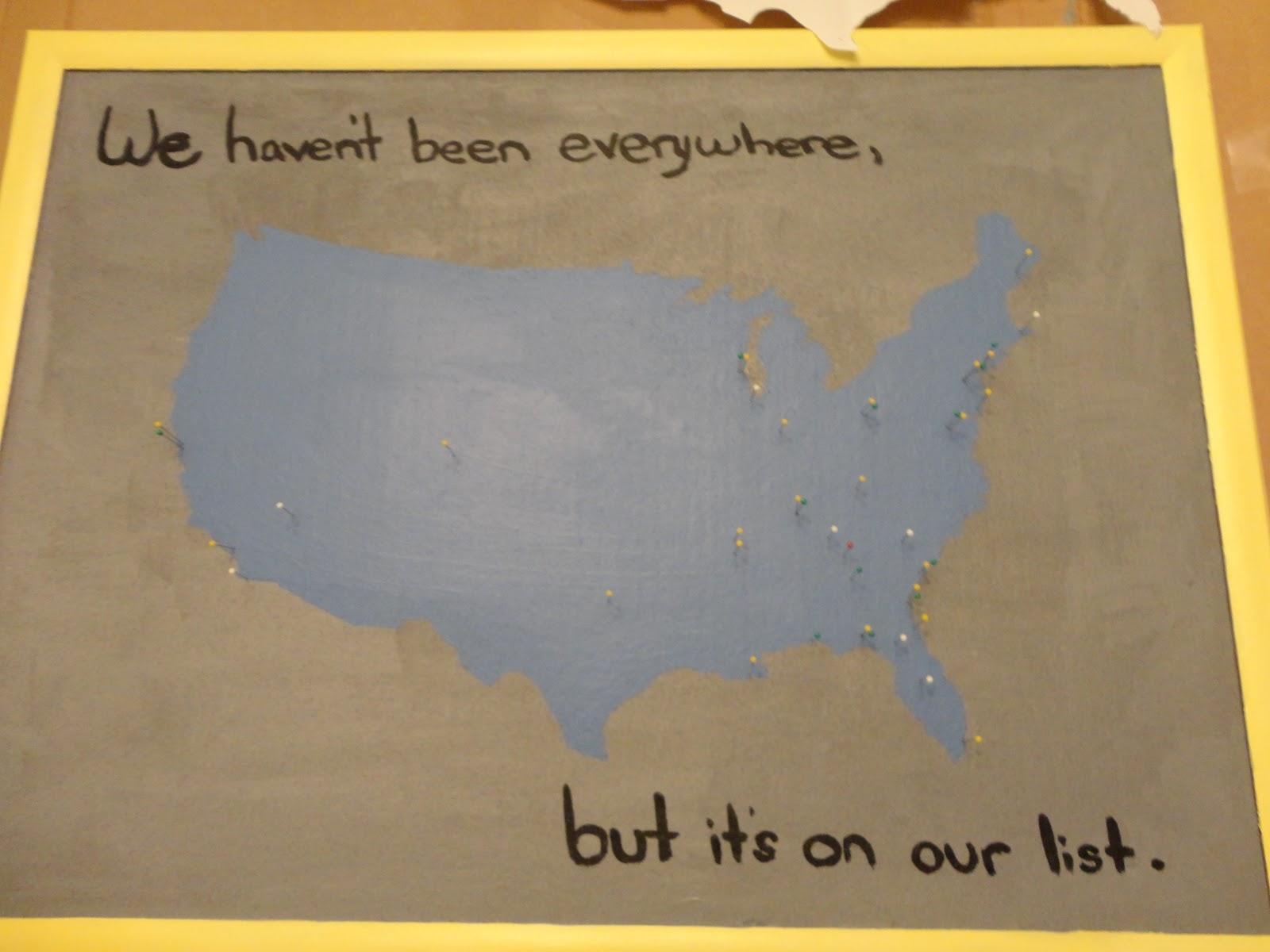 Fingers Crossed Cork Board USA Map Craft - Corkboard us map