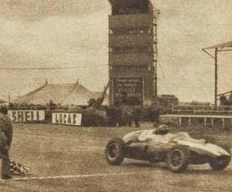Jack Brabham wins the trophy race at Silverstone, UK, in a Cooper, 1959