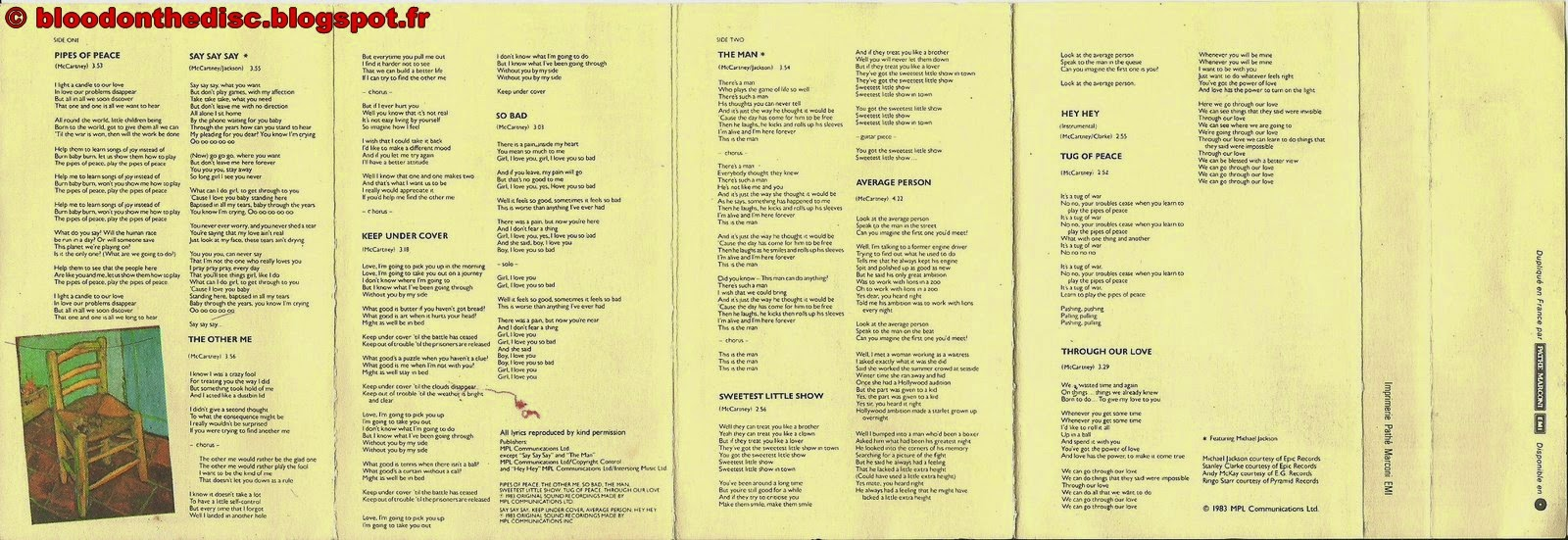 Pipes Of Peace Paroles