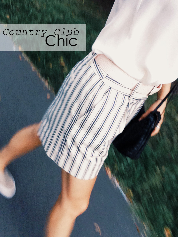 Country club chic, in motion, striped bermuda shorts, fashion over reason