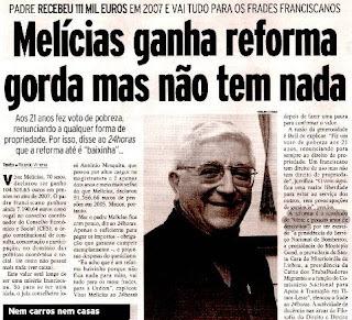 Padre Melícias pensão 7450 euros