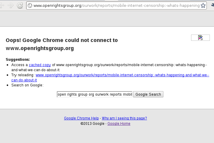 Proof of the Google censorship of the Open Rights Group Mobile Networks Censorship Intel!
