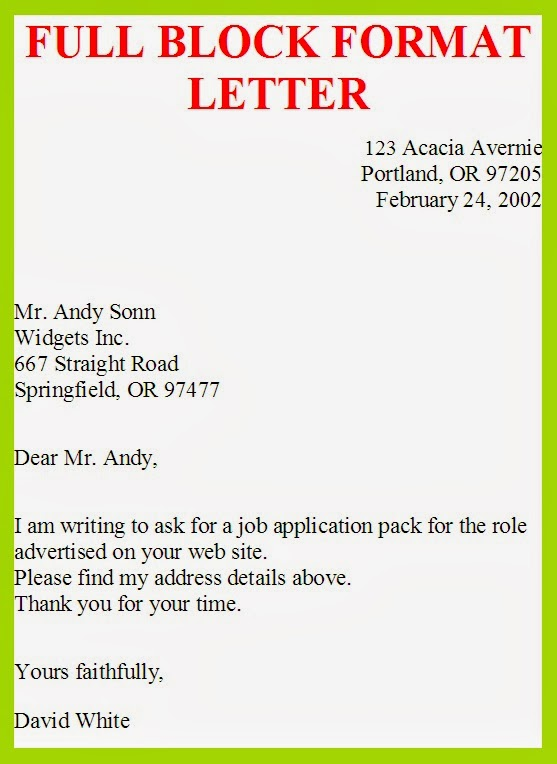 Business Letter Full Block Format Letter