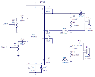 Stereo Amplifier Circuit with BA5406