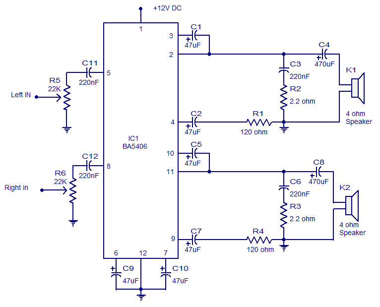 Wiring Schematic Diagram  Stereo Amplifier Circuit With Ba5406