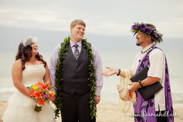 Maui Wedding by Simple Maui Wedding bride and groom on beach