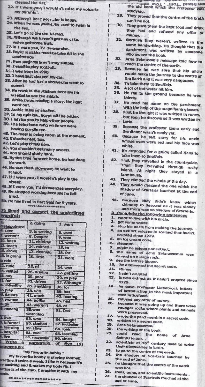 اخطر توقعات ومراجعات ملحق الجمهورية لامتحان اللغة الانجليزية للشهادة الاعدادية نصف العام 2016 Scan0019