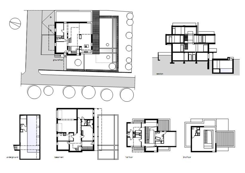 Floor plans of Modern home in Krakow, Poland