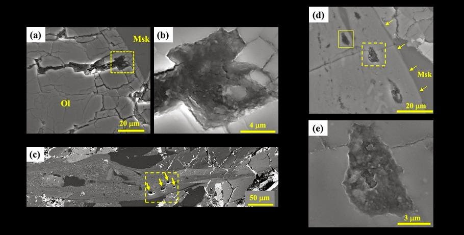SEM images of the organic carbon in Tissint. (a-b) Dark organic carbon fills all of the fractures and cleavages in olivine (Ol); (c-e) organic matter inclusions in a shock-melt vein. Credit: igg.cas.cn
