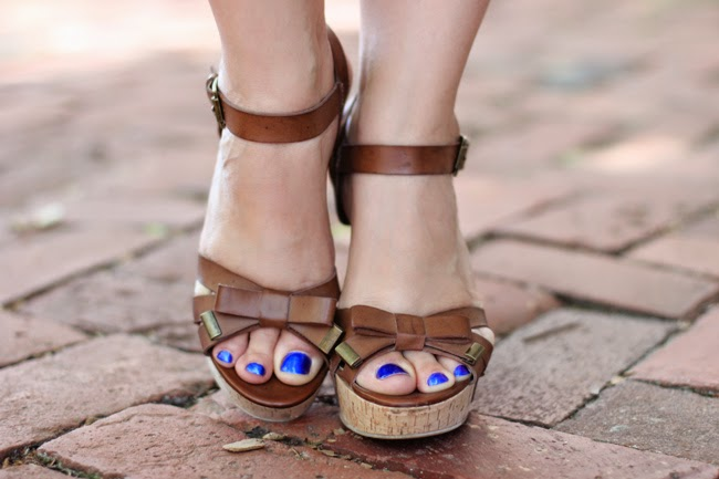 guess brown leather wedge sandals via tj maxx